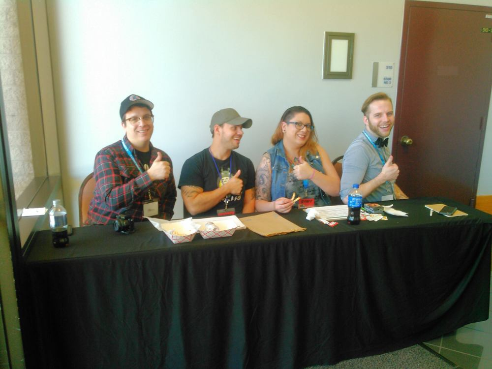 Hanging out With the Awesome Panel Staff after our Panel. (Left to Right):  Bandrew, OB, Jenny, Logan