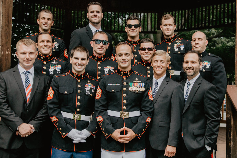 Marine corps wedding party, groomsmen pose for a photo on Stoneham town common