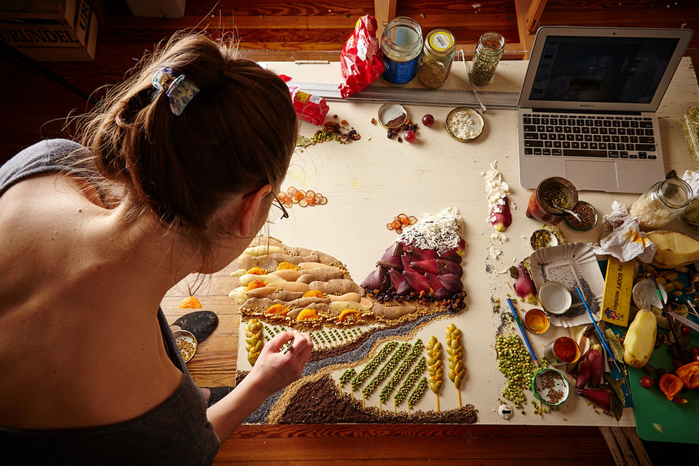 """Photographer Augustin Nieto and Stylist Anna Keville Joyce   create sceneries from colorful ingredients.   As Neito describes about his passion, """"I fell in love with how the light interacts with food and decided to pursue food photography,"""" which is what he's been doing full-time for the past two years."""" (Muklashy, Wasim).   https://fstoppers.com/editorial/photographer-agustin-nieto-and-stylist-anna-keville-joyce-play-their-food-54058"""