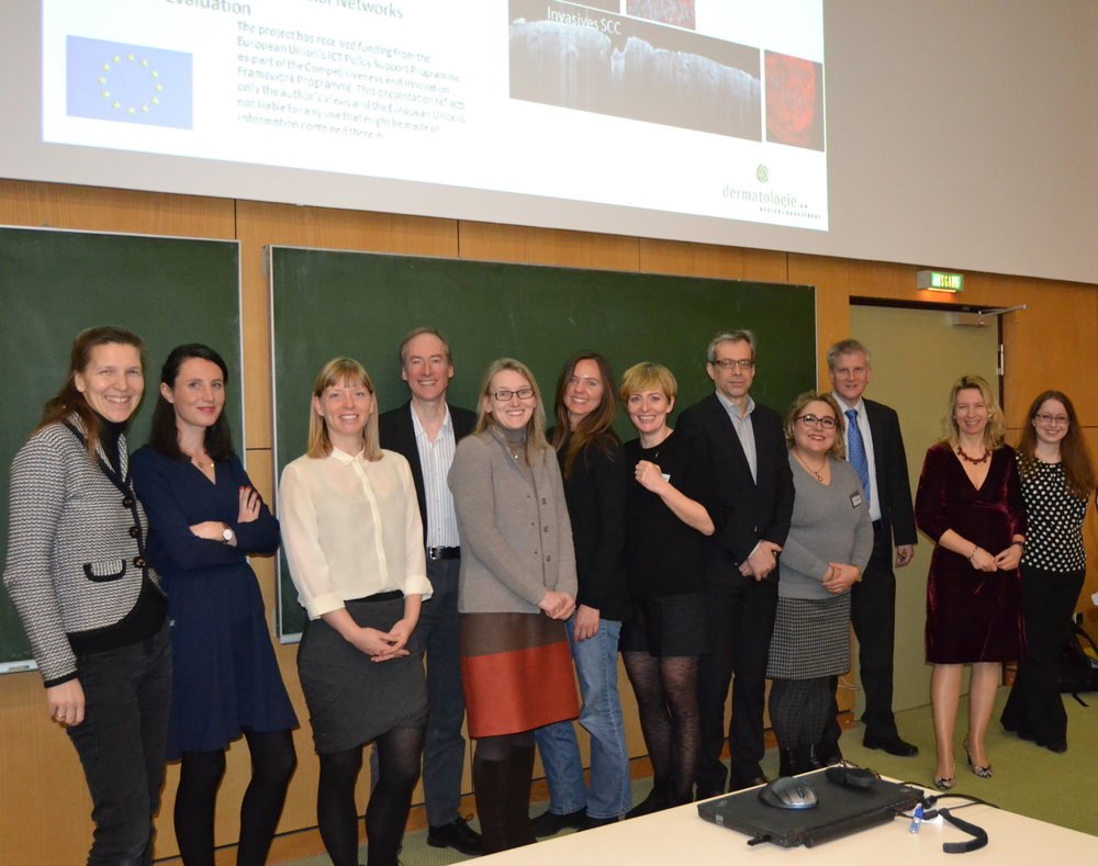 Thank you to the speakers at the OCT in Focus meeting   (from left to right): Elke Sattler, Cecile Dupont, Lotte Themstrup, Jon Holmes, Martina Ulrich, Nathalie De Carvalho, Mette Mogensen, Lutz Wünsch,   Ferial Fanian, Robert Huber, Julia Welzel, Sandra Schuh