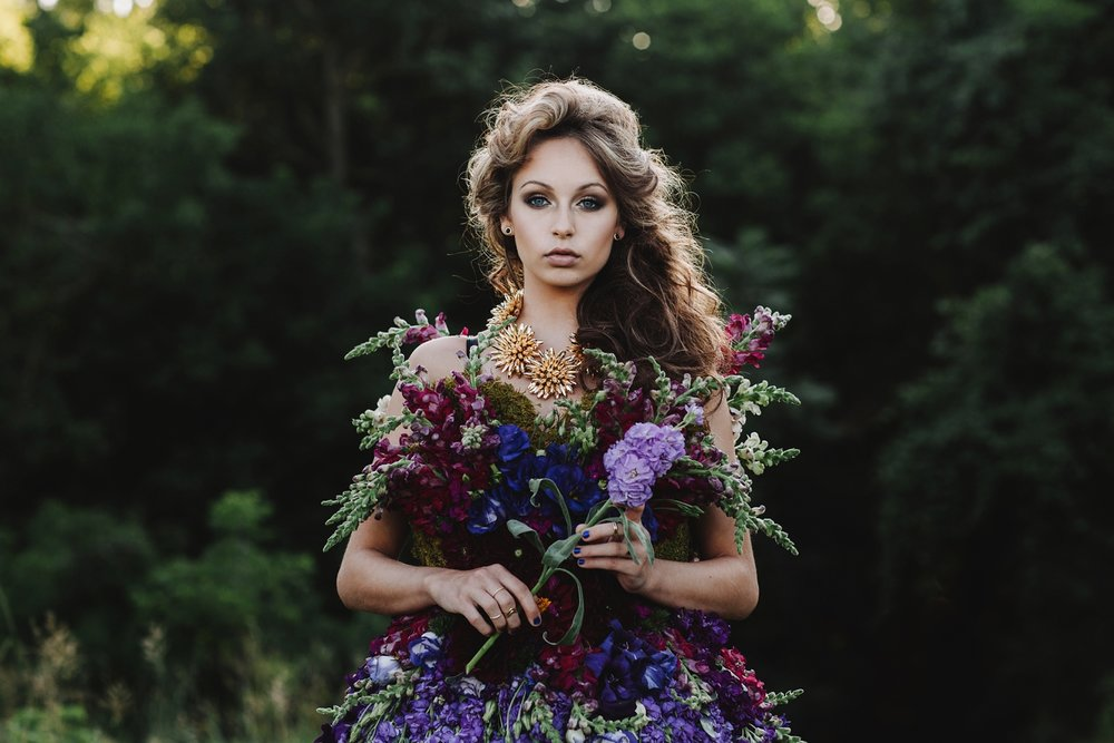 Floral Design Dress Made of Flowers