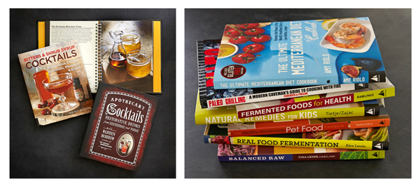 A sampling of cookbooks and cocktail recipe books photographed here at the studio.