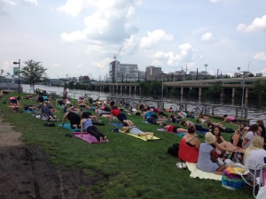 Yoga along the Schuylkill River.