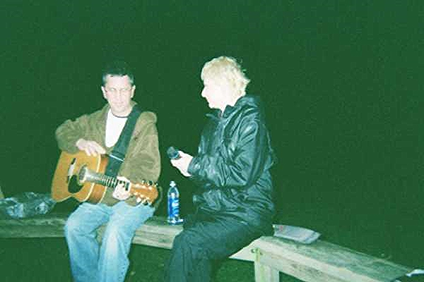 Nick and Joyce Filone making music at the Mad Poets Bonfire