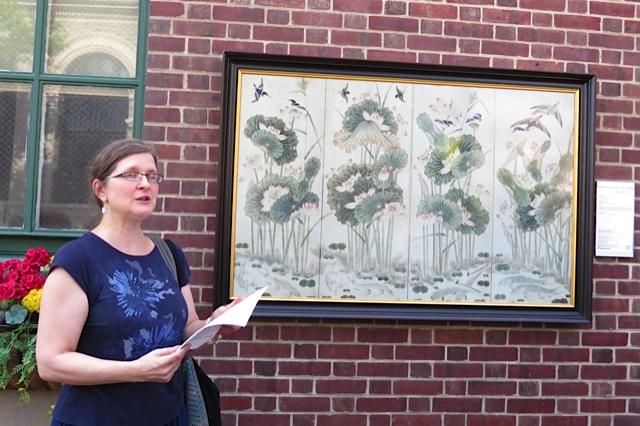 Sibelan Forrester reading her poem at the Inside Out Ekphrastic Poetry Event