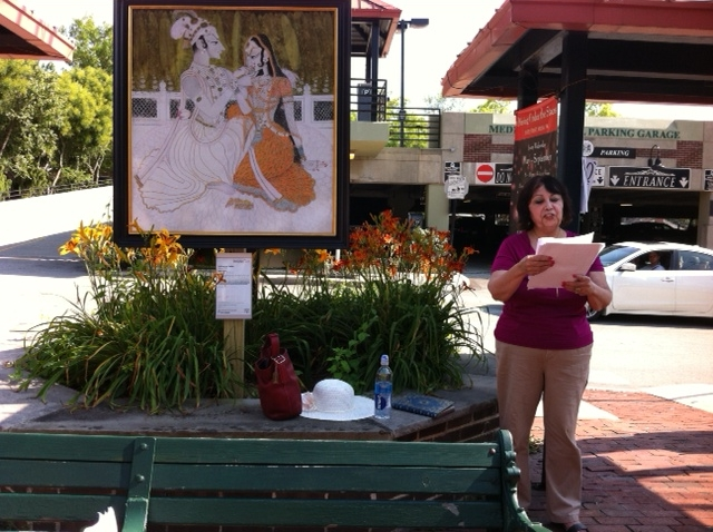Fereshteh Sholevar on the Plum St. Mall - inspired by Krishna and Radha
