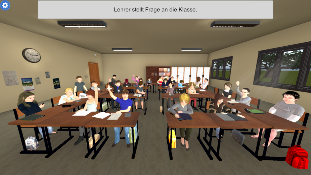 Simulated class environment with interactive students and distractions.