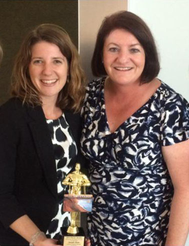 CFO Director Amanda Schultz with State Assembly Speaker Toni Atkins and her Freshy award