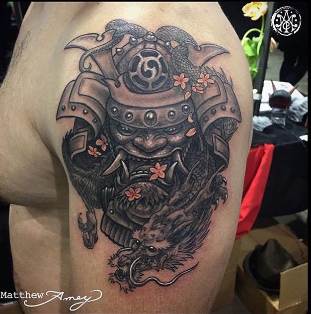 Tattoo of the week samurai dragon independent tattoo for Dragon and samurai tattoo meaning