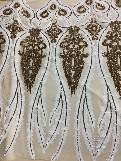 5d231f8ff Cleo Overlay- White Gold on Nude — Textile Discount Outlet