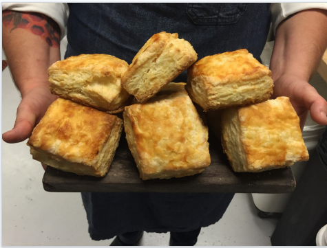 These biscuits are flaky on the outside and light and fluffy on the inside.