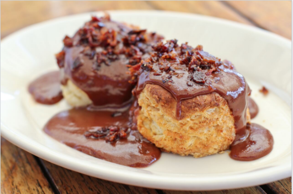 Zingerman's Roadhouse Biscuits With Chocolate Bacon Gravy
