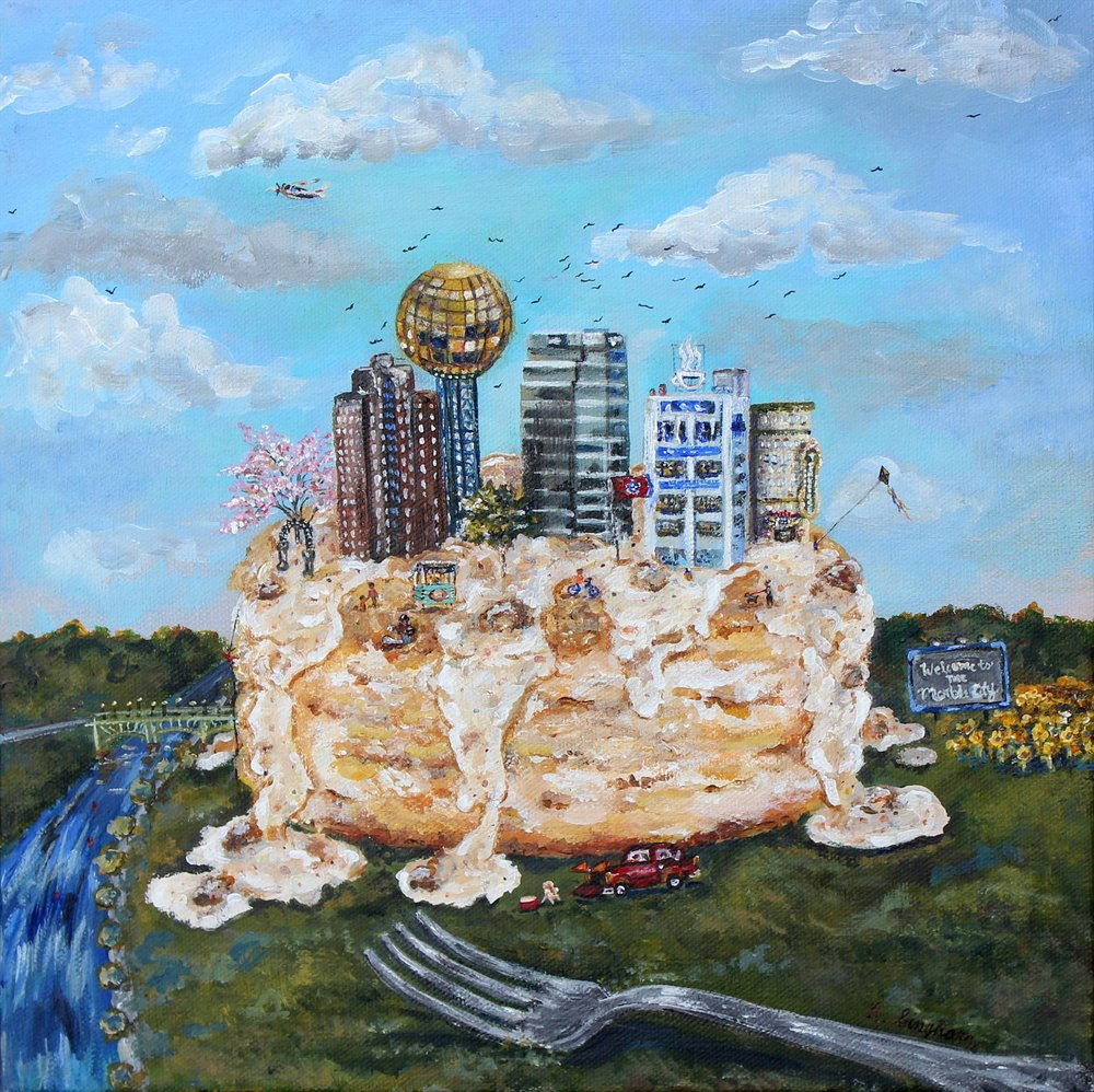 $1200 - Built this city on biscuits n gravy by hannah bingham // acrylic 12x12