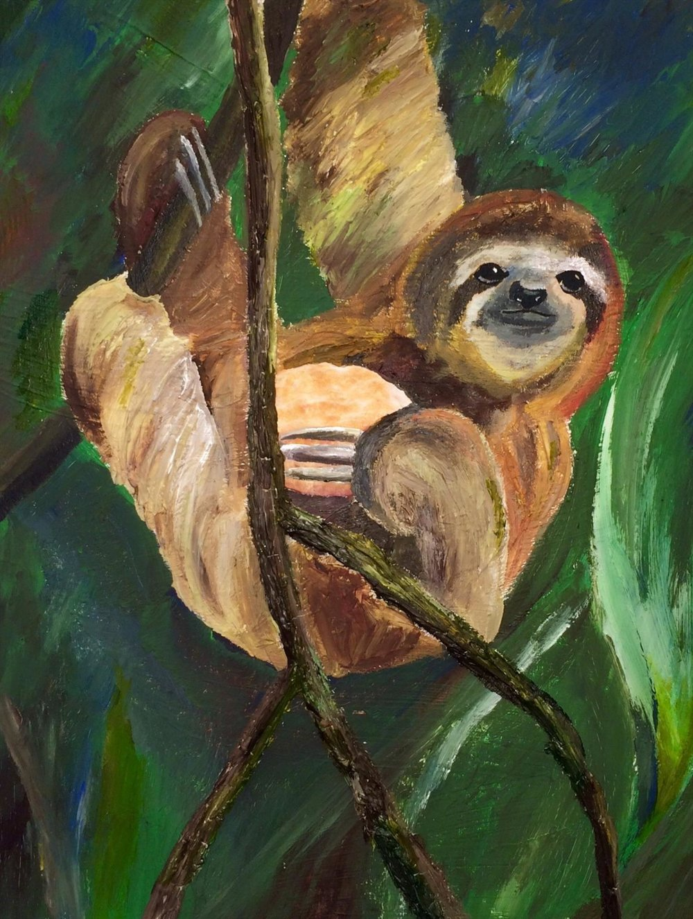 $175 - sloths don't eat biscuits, silly by rachel hankins // acrylic & paper 16x20