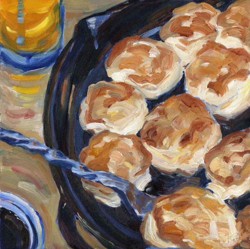 $350 - Tom's biscuits by leslie ann hauer // oil, 14x14