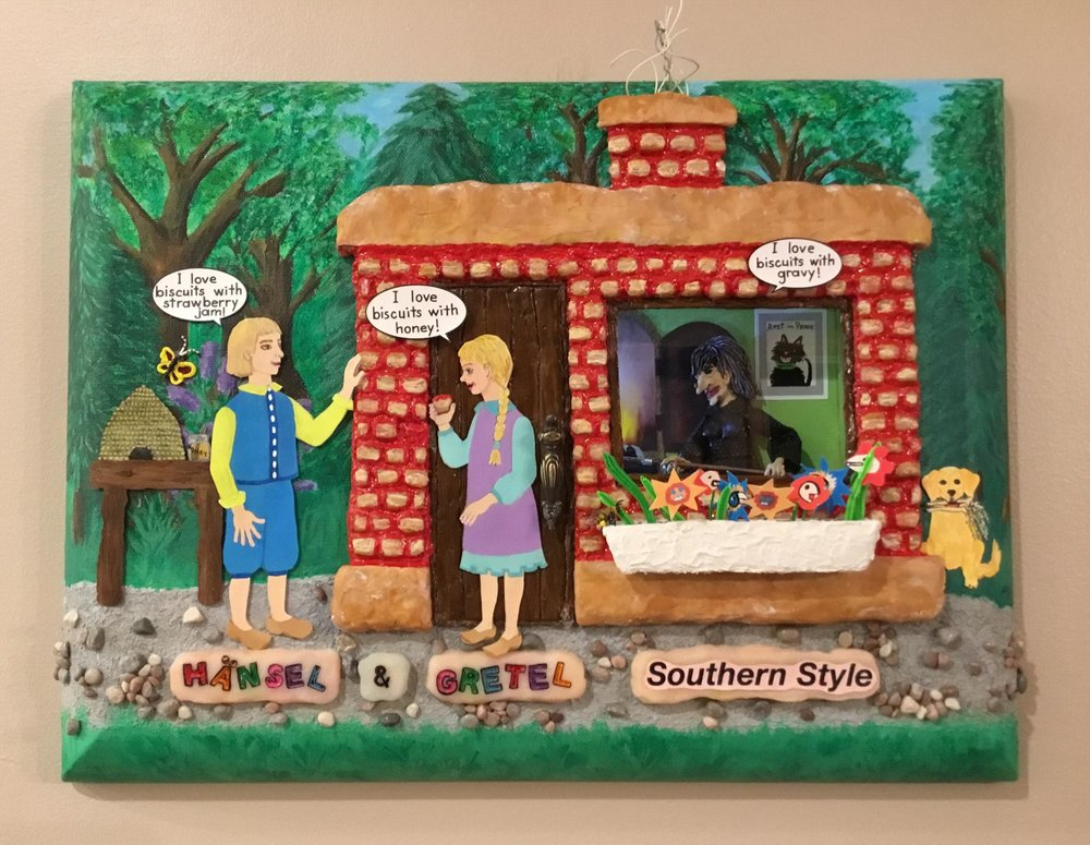 $350 - hansel and gretel southern style by amabile milano // collage with mini sculptured items, 12x16x3