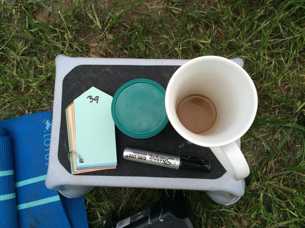 Tools of the trade: step stool for us shorties, swatch book with the 50 shades of One Mile of Love, Sharpie, almonds for snacking, and, of course, coffee. Did I mention we are out there painting at 6 am?