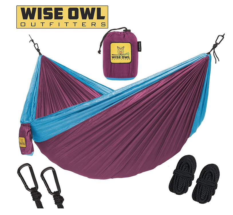 Outdoor Hammok - Wise Owl Outdoor Hammock made from parachute nylon is ultra durable and super light weight. They trust this material with skydivers lives!