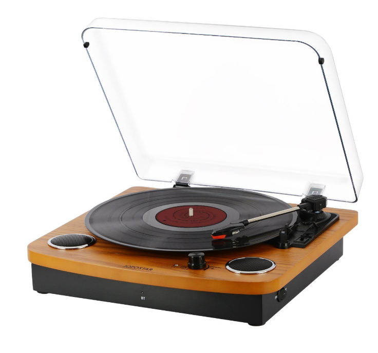 Bluetooth Record Player - For the Music loving Dad. This Bluetooth Record Player by Jopostar has 2 built in speakers and can connect to any bluetooth device, headphones, Iphone ect.