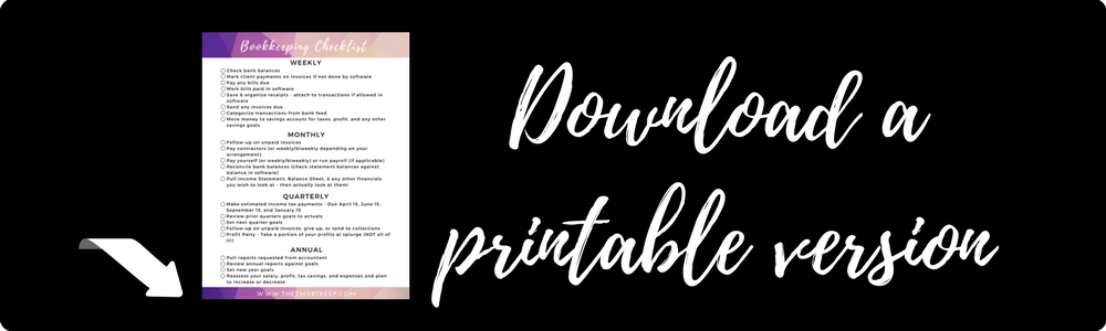 A bookkeeping checklist for female entrepreneurs with an online business. Perfect for coaches, designers, marketers, and virtual assistants.
