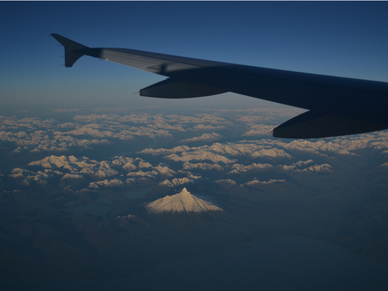 View flying over the Andes