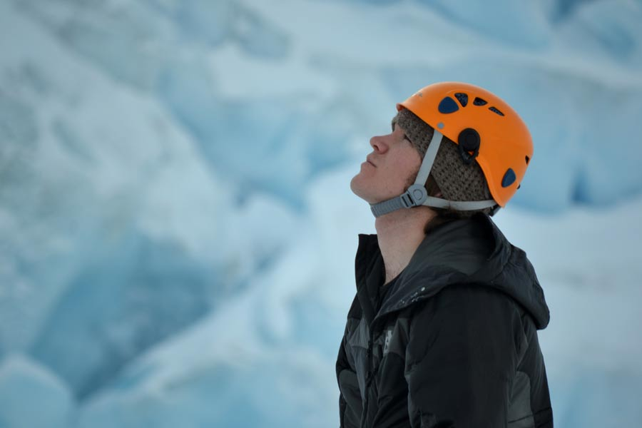 Gram Colegrove preparing for an ice climb in Antarctica