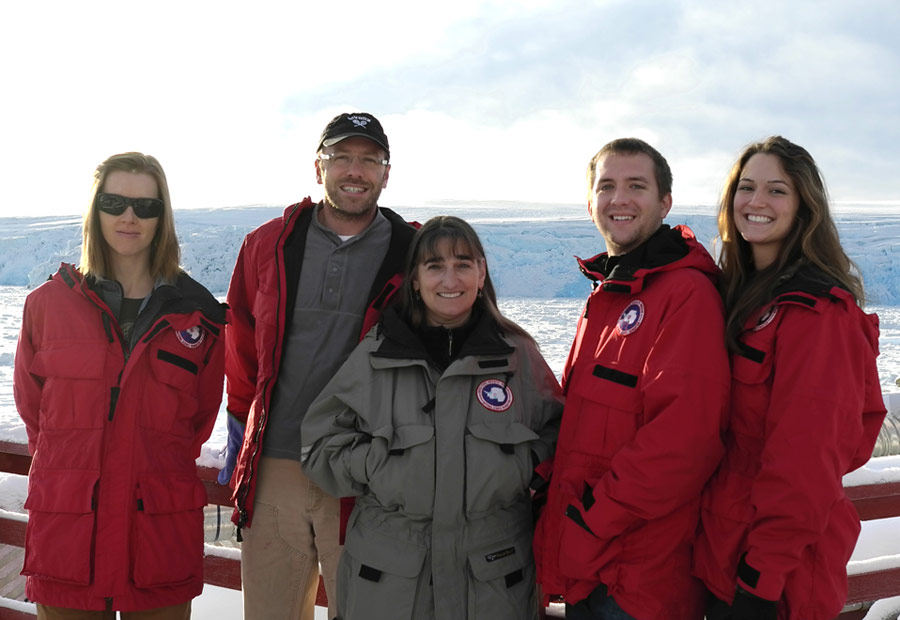The Mission Antarctica field crew (from left to right): Iva Neveux, Joeseph Grzymski, Deneb Karentz, Austin Gajewski, Bethany Goodrich