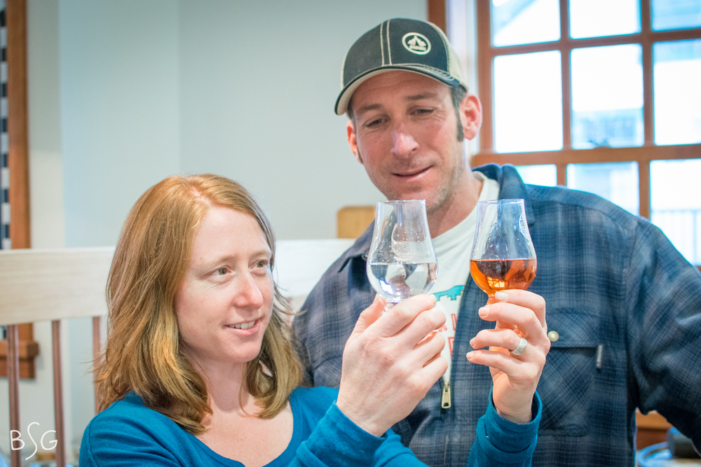 The first batch of Port Chilkoot's 3-year barrel-aged whisky is expected to release later this year. Shade and Copeland compare differences in color between raw 'moonshine' and the barrel-aged small batch whisky.