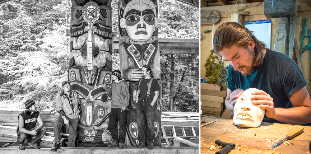 (Left)  Harley Bell-Holter, Eric Hamar, Justin Henricks and Stormy Hamar stand beside the central pole in Náay I'waans to celebrate the returning of the missing face. Eric carved the replacement. What creature is it? Not sure. Hamar appreciates the mystery (as described). Photo by Frederick Olsen. (Right) Harley sands a mask in the carving shed.