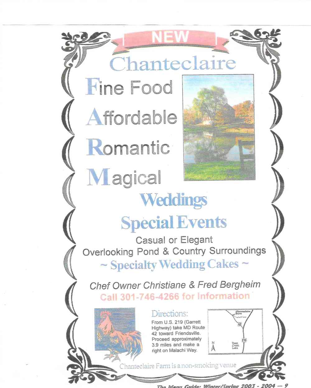 A 2003 ad for Chanteclaire Farm