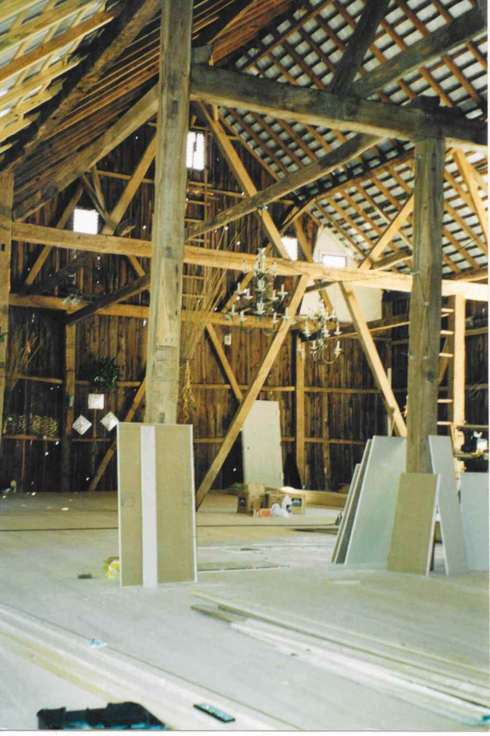 The top story of the barn at Chanteclaire Farm during renovation.  The ceiling work has been completed, and work has begun on installing the gorgeous Ash hardwood floors.