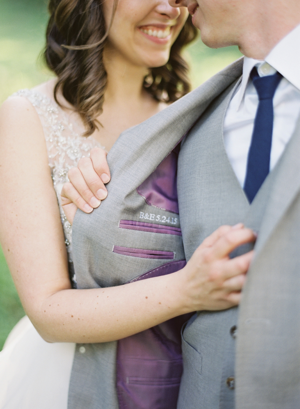 Photocredit: Vicki Grafton         Your initials and wedding date in your suit jacket is a hidden, but adorable, detail.