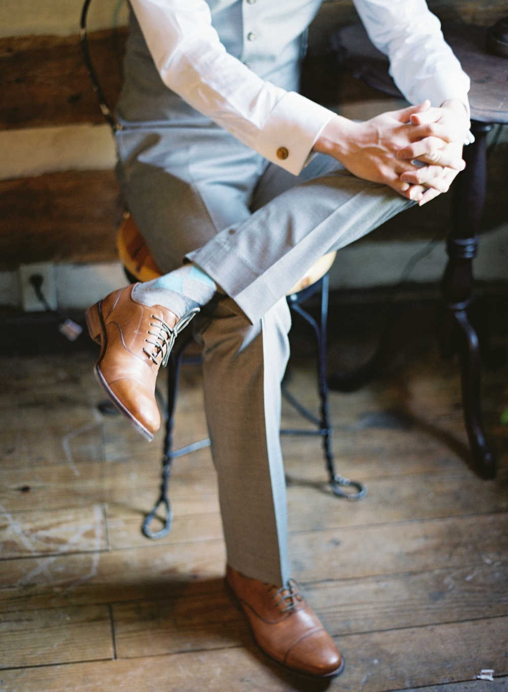 Photocredit: Vicki Grafton    The argyle socks and perfect fit of this suit make this groom's look an instant classic.