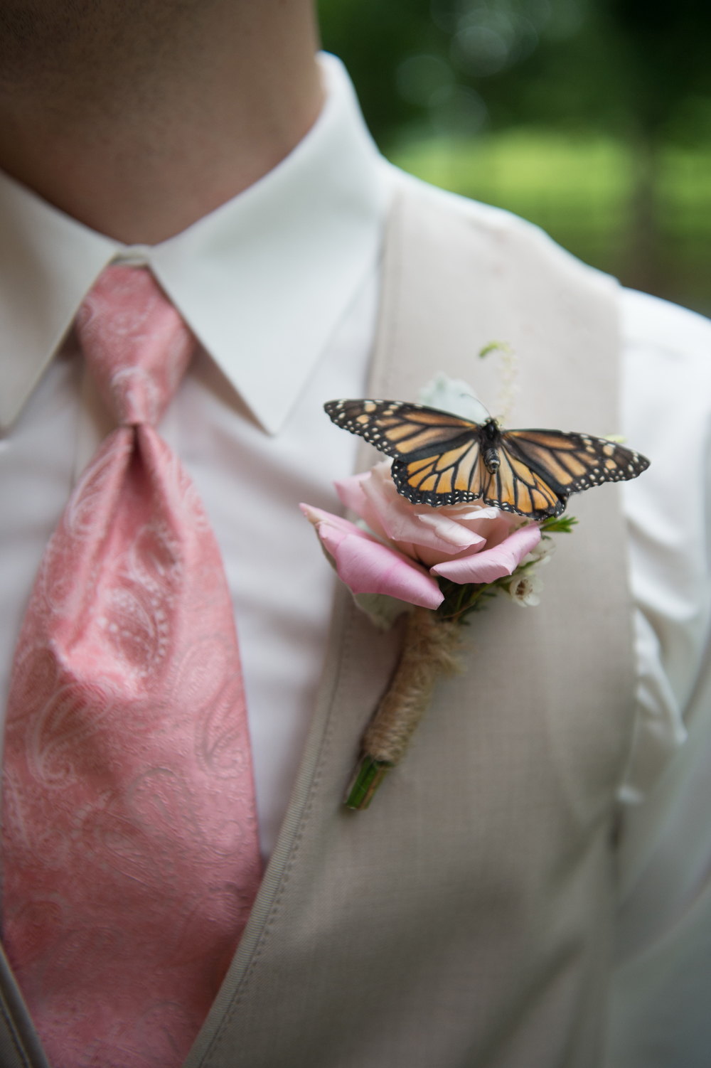 Photocredit: Amberlee Christey                               After this couple's butterfly release, the groom had an addition                                                                                                                          to his boutonniere look.