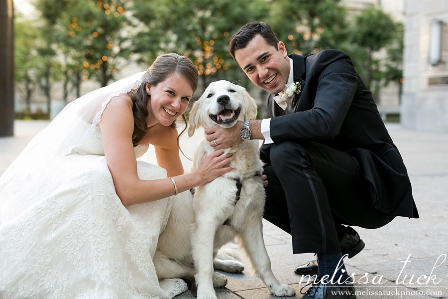 "I'm SO excited to share this wedding with all of you. Sarah and Michael got married in May at the  Ronald Reagan Building  in DC. This photo was taken right after they said ""I Do"" and their adorable pup, Cady, came for a few portraits. You may remember Sarah and Michael from their  Capitol Hill engagement session last fall . Sarah is one of my oldest friends and today happens to be a big milestone birthday for her (HAPPY BIRTHDAY!!!), so I thought it was fitting to share her wedding today.   I can't say enough good things about these two amazing people. I kind of spilled my heart out about them already in their  engagement session post , so I'll talk more about their wedding now. It was AWESOME. There were so many special moments, but my favorites were their first look and the choreographed first dances at the reception ( Katy Perry's left shark  made an appearance!). All the details were stunning: Sarah's dress, the florals, the wedding party ... everything was flawless. I can say a lot more about how wonderful it was and how wonderfully emotional this wedding left me, but I'll move on to the photos. : )  Bride's dress:  Justin Alexander  Bride's shoes:  Badgley Mischka  Bridesmaids dresses:  J.Crew  Groom & groomsmen attire:  M. Stein & Co.  Makeup & hair: Alison Taylor Florals:  Amaryllis, Inc.  Ceremony music:  Sage String Quartet  Cake:  Cupcake Novelties  Band:  Nightsong  Caterer:  Ronald Reagan Building  Programs:  Minted.com   And I have to give special thanks to Lindsey Farrell of  Kelley Cannon Events , who made everything run SO seamlessly, and my second shooter,  Jennifer Smutek , who killed it as well."