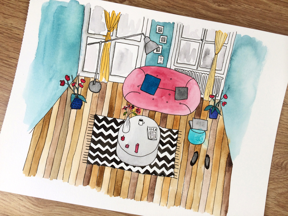 watercolor illustration with pink couch