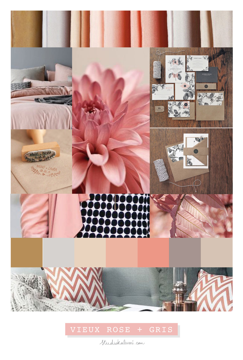 Wedding Moodboard Dusty Pink + Grey