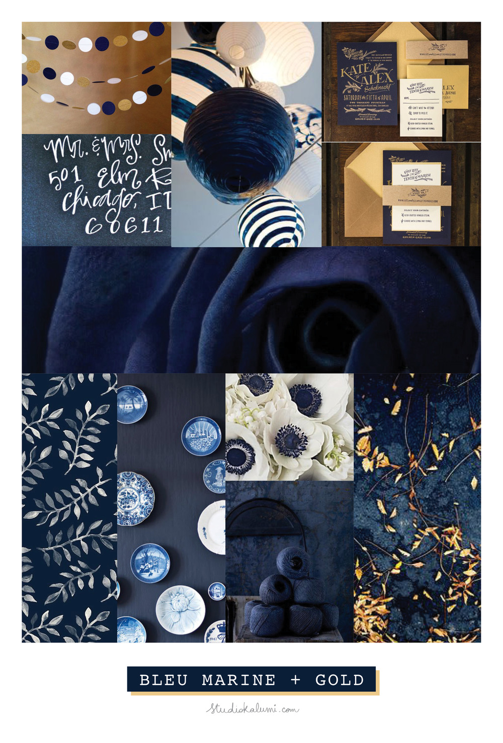Wedding Moodboard Navy + Gold