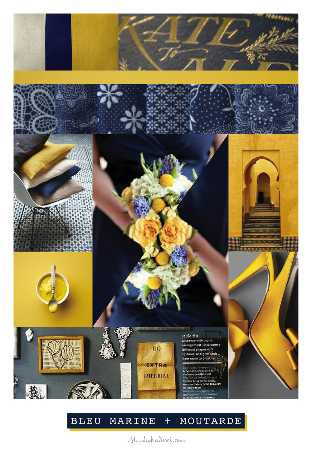 Wedding Moodboard Navy + Mustard