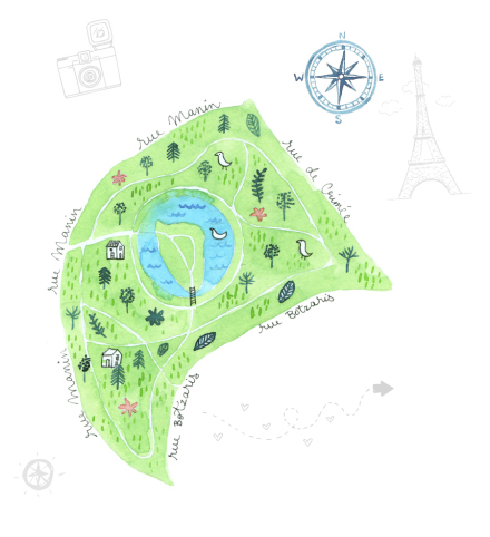 illustrated map of the parc des Buttes Chaumont Paris