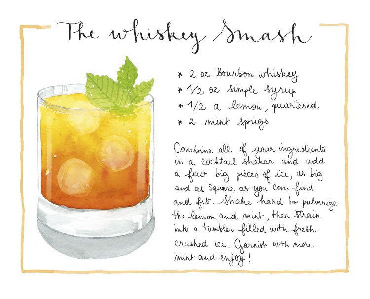 whiskey-smash-watercolor-recipe