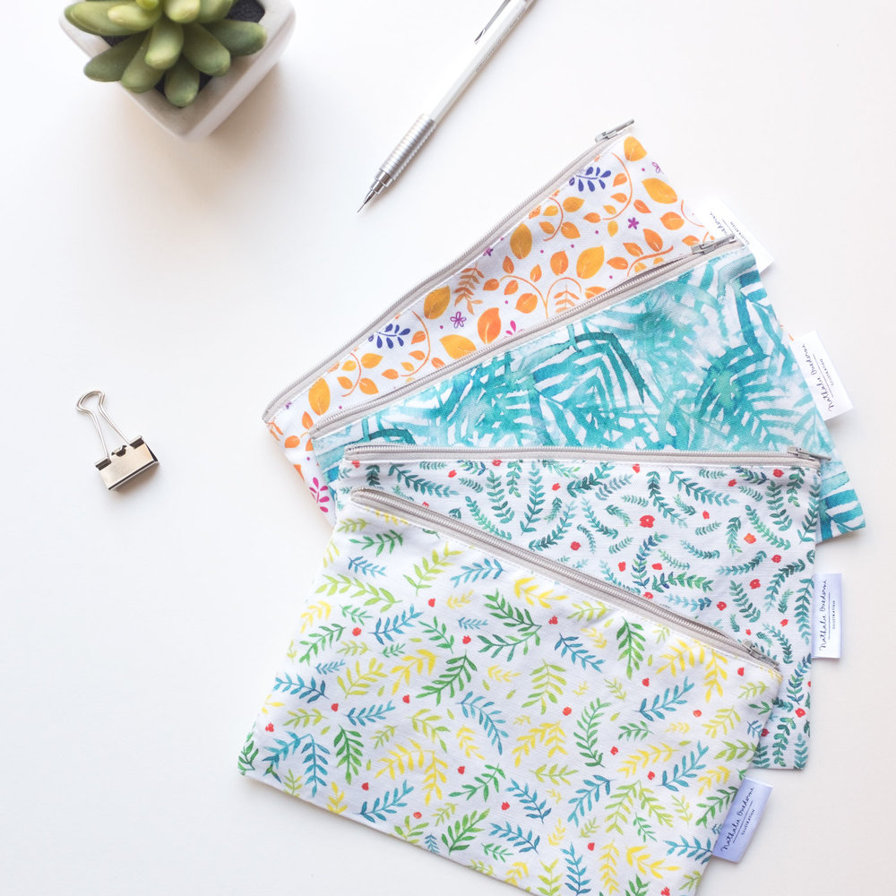 watercolor pattern pouches