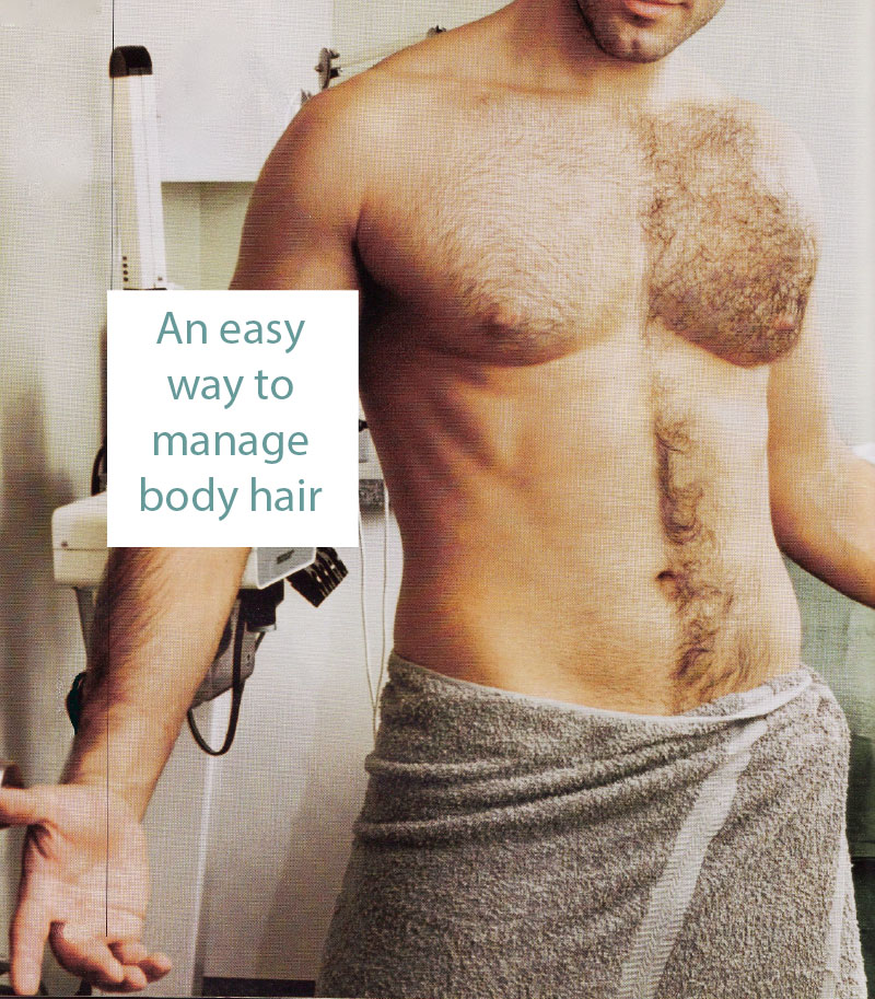 Trimming is an easy way to manage body hair.      $25/15mins