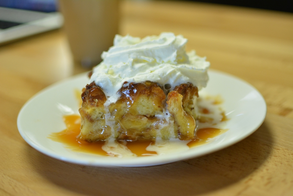 Bread pudding made from our fresh-baked cinnamon rolls. Amazingly good for breakfast!