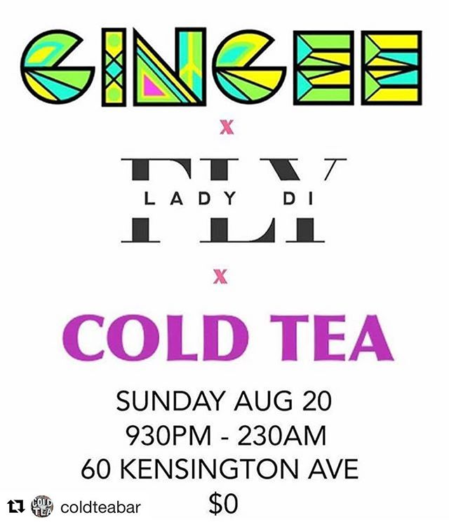 The party ain't over yet! @gingeeworld and @flyladydi are spinning at @coldteabar for our unofficial after party tmrw --  SUN, AUG 20, 9:30PM, NO COVER! Let's keep the good vibes going!!! ✨🎉 #Repost @coldteabar ・・・ Unofficial #kultura #afterparty #kulturato @kulturato  SUNDAY NIGHT  9:30PM - CLOSE MUSIC BY: @flyladydi & @gingeeworld