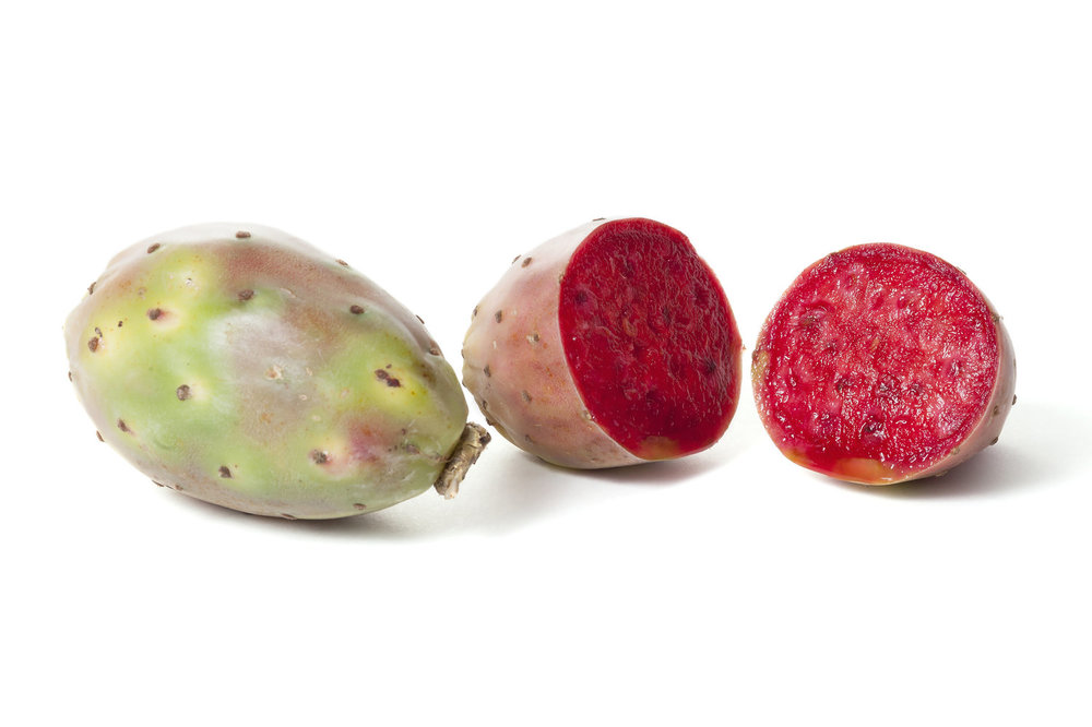 Prickly Pear - Research has shown prickly pear to be considered a super-food due to its antioxidant and cholesterol reducing properties. The fruit of the prickly pear is rich in betalains. Clinical studies suggest that nopal cactus is beneficial for diabetics because it reduces blood glucose levels.