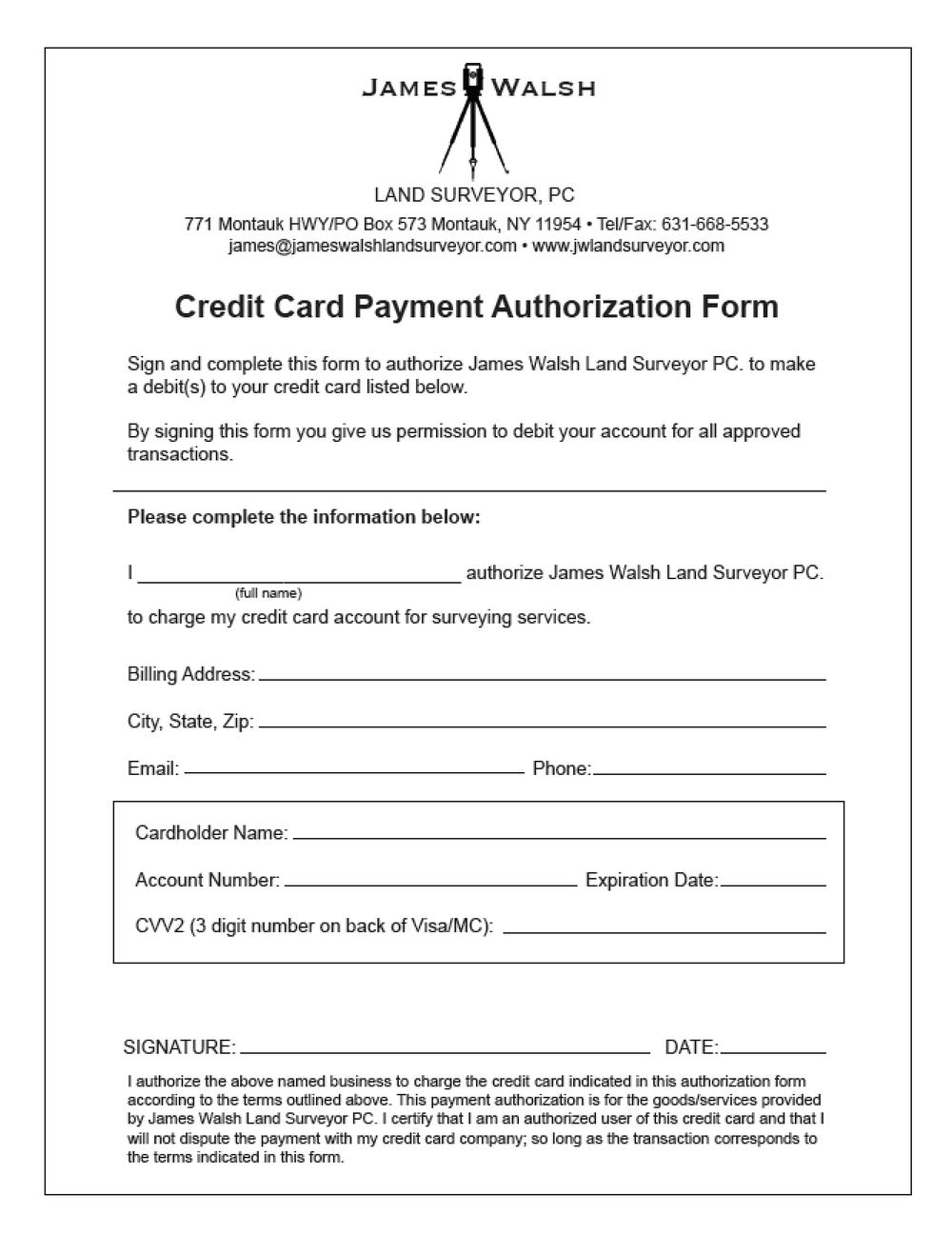 credit card authorization form ny