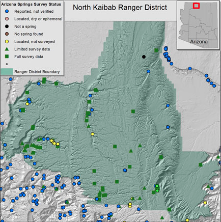 Compilation of available data for springs of the North Kaibab Ranger District. Data provided by ALRIS, Kaibab National Forest, Bryan Brown and Susan Moran, Glenn Rink, Grand Canyon Wildlands Council, and Grand Canyon Trust (click to enlarge).