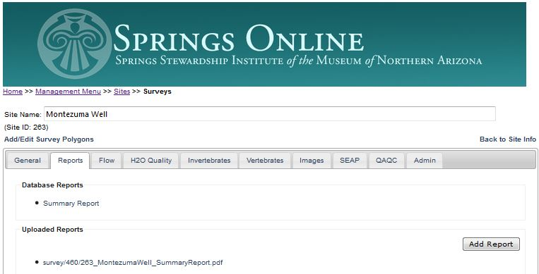 Fig. 47: You can generate a summary report for a specific survey selected by clicking the Reports Tab.