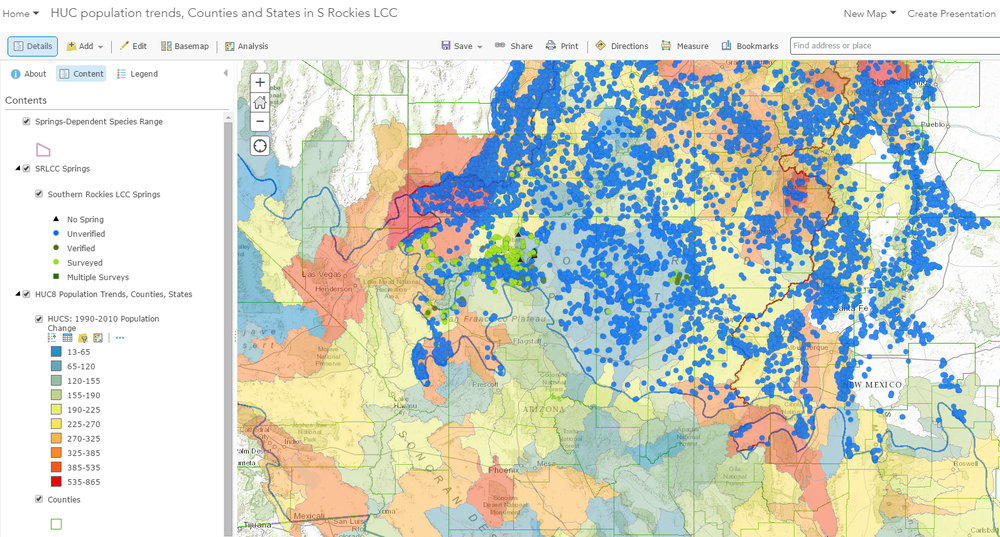 Interactive online map of publicly-available springs data and human population change within the Southern Rockies LCC. All data have been imported into the SpringsOnline database at  http://springsdata.org/ .